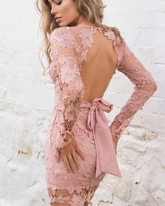Vintage Open Back Wedding Guest Going Out Mini Bodycon Dress