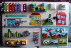 """Busy Board """"truck and houses"""", Activity Board, Sensory Board, Montessori educational Toy, Fine motor skills board for toddlers & babies"""