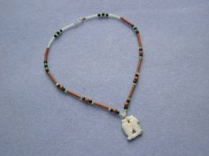 Wood and Stone double fish necklace