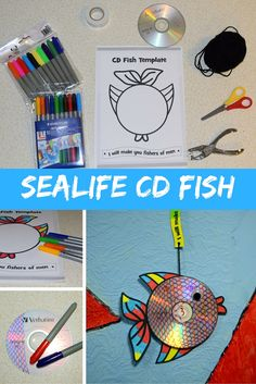 Turn a CD into a fish. Easy and Fun Craft for kids.