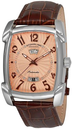 Stuhrling Original Men's 98XL.3315K14 Classic Metropolis Madison Avenue Automatic Day And Date Brown Leather Strap Watch >>> Details can be found by clicking on the image. (This is an Amazon Affiliate link and I receive a commission for the sales)