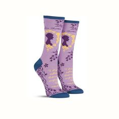 Jane Austen Socks. Perfect for anyone who loves literature, these women's Jane Austen novelty socks showcase your love of the written word. In women's size 9 to 11, our cotton fun socks are available in lovely color schemes to fit any wardrobe.