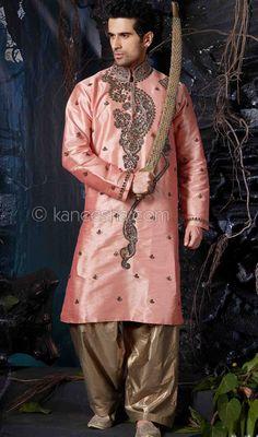 Pink Cotton Sherwani Kurta Set Price: Usa Dollar $109, British UK Pound £64, Euro80, Canada CA$118 , Indian Rs5886.