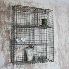 Locker Room Shelf: This Industrial inspired Shelving provides useful and stylish storage. With a distressed grey zinc wire finish these Locker Room Shelves look great in pretty much every room in the house. Wall Shelf Unit, Room Shelves, Nkuku, Stylish Storage, Wire Storage, Wire Shelving, Warehouse Shelving, Wall Storage, Locker Room