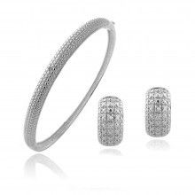 Silvertone Diamond Accented Earrings And Bangle Jewelry Set
