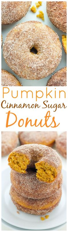 Pumpkin Cinnamon Sugar Donuts - super soft fluffy and loaded with pumpkin flavor! The best part? They're ready in 20 minutes!