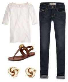 Cute Relaxed Preppy Outfit by elizabethandre on Polyvore featuring polyvore, fashion, style, J.Crew, Hollister Co., Tory Burch and Brooks Brothers