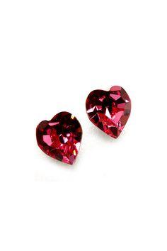 Raspberry Ruby Red Swarovski Crystal Hearts Earrings