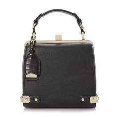 DUNE ACCESSORIES DOBLONG - Metal Corner Detail Frame Bag - black | Dune Shoes Online want!!