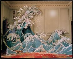 I love this set design inspired by Japanese paintings of the sea.- could be used for James and giant peach ocean scene.