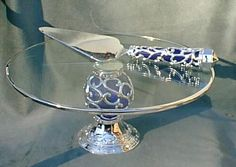 Cobalt Glass and Silver Cake Plate