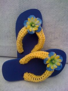 Items similar to Blue Flip Flops with Yellow Crocheted Covered Straps - Girls Size on Etsy Crochet Flip Flops, Crochet Socks, Crochet Clothes, Blue Flip Flops, Mens Flip Flops, Flip Flop Sandals, Decorating Flip Flops, How To Make Shoes, Bare Foot Sandals