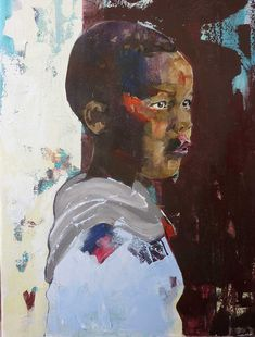Buy BOY CHILD, a contemporary portrait on canvas of an African boy by professional artist Christine Crowley, size 60 x available at StateoftheART. Art Online, Online Art Gallery, Crowley, African Art, Figurative, Portrait, Canvas, Artist, Painting