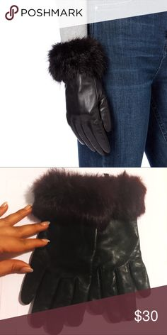 Wilson Black Leather Gloves w/ Wine Color Fur Tremendously soft fur cuff combined with soft genuine leather. Lined with 100% polyester. Will keep hands warm for the winter 🍷❄️☃️ Used a couple of times this winter. Wilsons Leather Accessories Gloves & Mittens