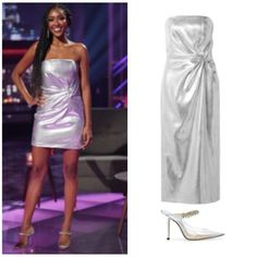 Stunning in Silver // Get details on Tayshia Adams Silver Dress {hers is shortened} with the link in our bio 📸 = @abcnetwork / Craig Sjodin Adam Silver, Silver Dress, Asos, High Heels, Link, Outfits, Shopping, Dresses, Fashion