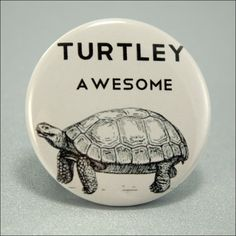 Pinback Button Turtle Black White Corny Joke Badge by ButtonMunch on Etsy