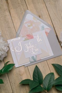 ADELE Suite Floral Package, grey, blush, rose gold, watercolor peonies, foil wedding invitations