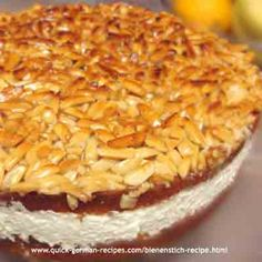 """Bienenstich Cake: """"German Bee Sting Cake"""" From: Quick German Recipes - Just Like Oma's! German Cakes Recipes, German Desserts, Apple Cake Recipes, Just Desserts, Baking Recipes, Dessert Recipes, German Bee Sting Cake, German Plum Cake, Best Pound Cake Recipe"""