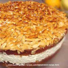 "Bienenstich Cake: Mike's birthday cake, a German ""Bee Sting"" cake. http://www.quick-german-recipes.com/bienenstich-recipe.html"