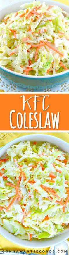 KFC-Coleslaw-Recipe. This is an amazing copycat version of the famous KFC Coleslaw Recipe. It's sweet, a little tangy and fabulously creamy! My all-time favorite coleslaw recipe! Recipe For Coleslaw Dressing, Coleslaw Sauce, Sweet Coleslaw Recipe Kfc, Amazing Coleslaw Recipe, Kfc Cole Slaw Recipe, Creamy Coleslaw Dressing, Healthy Coleslaw Recipes, Creamy Cole Slaw Recipe, Copycat Kfc Coleslaw