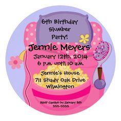 Sleepover Slumber Party Round Birthday Invitation Custom Announcement