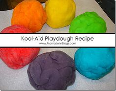 Ever tried making your own play dough? Save yourself a little bit of money and give this recipe a try! This was our first time making play dough with Kool Aid and let me tell you the smell is SOOO yummy and, much to my surprise, it lasted for a reall