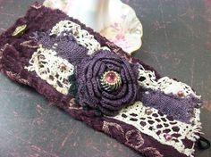 Plum Velvet Print Vintage Lace and Trims Crochet ♥ by TatteredWears