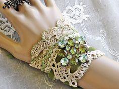 Victorian Lace Wrist Cuff - Moss Green Cuff Bracelet, Upcycled Jewelry