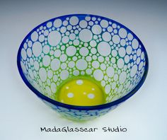Etched Bubble Bowl by MadaGlasscarStudio on Etsy