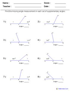 Find Supplementary Angles Worksheets