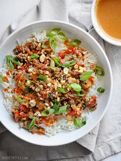Hoisin Stir Fry Bowls with Spicy Peanut Sauce are a quick and colorful answer to dinner - BudgetBytes.com