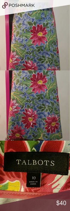 Talbots Floral Pencil Skirt Beautiful floral pencil skirt from Talbots. Colors are pink burgundy blue and green. Zips up the back. Kick pleat in back. Waist: 34 inches. Lenght: 25 inches. Size 10. Unlined. Talbots Skirts Pencil
