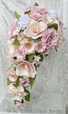 Cascading Paper Bouquet - Paper Flower Bouquet - Wedding Bouquet - Country White and Petal Pink - Custom Made - Any Color