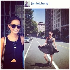 Korean-American #actress #celebrity @Jamie Chung in #lineanddot   #black #triangle #cutout #summerdress #dress ❤We ADORE Her!!!❤