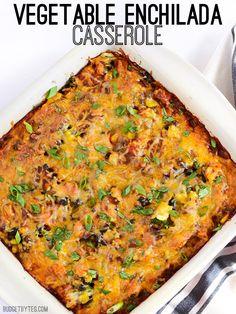 Vegetable Enchilada Casserole - BudgetBytes.com Vegetable Enchiladas, Homemade Enchilada Sauce, Burritos, Veggie Recipes, Mexican Food Recipes, Vegetarian Recipes, Budget Meals, Casserole Dishes, Main Meals