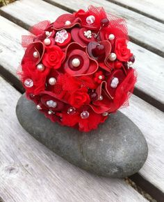 Red Leather Button Bouquet by RubyDoodlesJewellery on Etsy