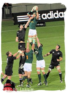 The Springboks winning the ball in a line out against the All Blacks of New Zealand - Springbok rugby in South Africa and the South Africa rugby team South Africa Rugby Team, South African Rugby, South Africa Tours, Best Rugby Player, Rugby Players, Rugby Teams, Go Bokke, Rugby Rules, Australian Football