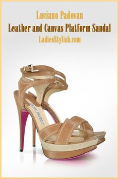 Luciano Padovan - $510.00 - Leather and Canvas Platform Sandal ... http://ladiesstylish.com/go/designers/Luciano-Padovan/Shoes.html #LadiesStylish #Designers #Shoes