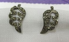 Vintage 1940's Silver and Marcasite Leaf by athenasvintage on Etsy