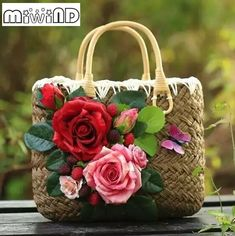 Summer Straw Bags for Women 2017 Luxury Flowers Handmade Woven Beach Bag Travel Women's Handbags Bolsa Feminia bags handbags style Summer Straw Bags for Women 2017 Luxury Flowers Handmade Woven Beach Bag Travel Women's Handbags Bolsa Feminia Woven Beach Bags, Beach Tote Bags, Luxury Flowers, Beach Flowers, Retro Flowers, Diy Flowers, Flower Bag, Holiday Jewelry, Types Of Bag