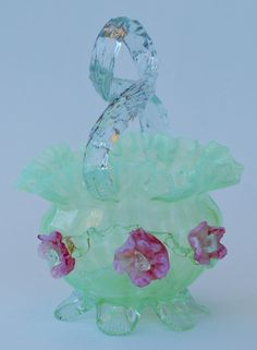 opalescent art glass basket 1890