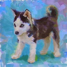 Full Of It - Alaskan Husky Sled Dog Puppy Painting by Karen Whitworth