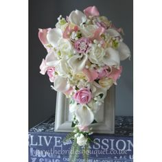 Bridal Bouquets - Tear - Pink Calla Lily, Rose & Gypsophila - Choose Rose Colours - Teardrop