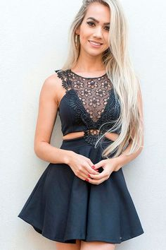 chic a-line crew short black homecoming dress with lace#homecomingdresses#partydresses#black