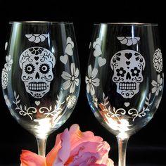 Calavera Wine Glasses  Dia De Los Muertos Sugar by bradgoodell, $52.00