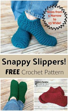 Free Crochet Pattern: Snappy Slippers Pattern Paradise by Vickie Bell Easy Crochet Slippers, Crochet Socks Pattern, Crochet Slipper Boots, Crochet Stitches, Knitting Patterns, Free Crochet Slipper Patterns, Booties Crochet, Crochet Accessories Free Pattern, Crochet Boot Socks
