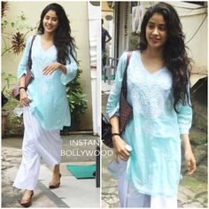 Alluring in her aqua blue summer time kurta Jhanvi Kapoor snapped post dance practice in Bandra. Indian Attire, Indian Wear, Indian Dresses, Indian Outfits, Salwar Kurta, Sharara, Anarkali, Casual Indian Fashion, Bollywood Fashion