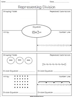 FREE printable where students practice representing division through grouping models, arrays, number lines, and repeated subtraction!
