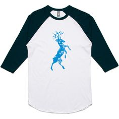 theIndie Buck Deer (Blue) 3/4-Sleeve Raglan Baseball T-Shirt