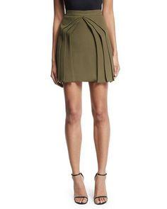 THF8D Brandon Maxwell Layered Silk Mini Skirt, Olive